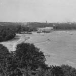 Older photo of Lake Calhoun beach line and bath house