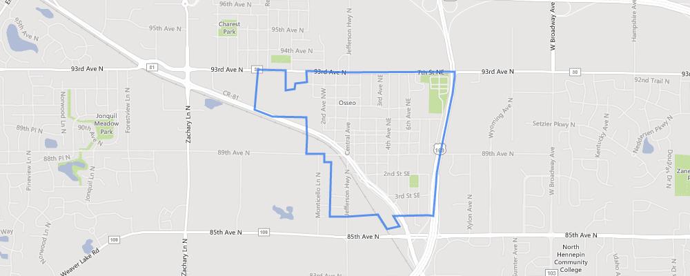 Map of Osseo, Minnesota